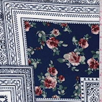 White/Sapphire Floral Tile Double Brushed Jersey Knit