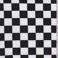 White/Black Check Double Brushed Jersey Knit