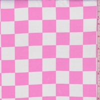 White/Pink Check Double Brushed Jersey Knit