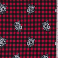 Berry Red/Black Floral Check Double Brushed Jersey Knit