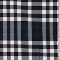 Black/Blue Twill Plaid Double Brushed Jersey Knit