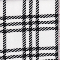 White/Black Glen Plaid Double Brushed Jersey Knit