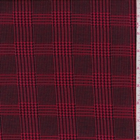 Bright Red/Black Glen Plaid Double Brushed Jersey Knit