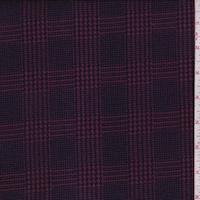 Plum/Navy Glen Plaid Double Brushed Jersey Knit