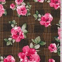 Orange/Pink Glen Plaid Floral Double Brushed Jersey Knit