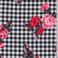 Black/Red Check Floral Double Brushed Jersey Knit