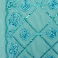 *2 YD PC--Aqua Swirl Trellis Ribbon/Sequin Embroidered Scallop Mesh