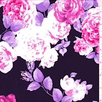 *1 3/8 YD PC--ITY Black/Fuschia Rose Jersey Knit