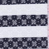 *2 YD PC--Dark Navy/White Stripe Floral Lace