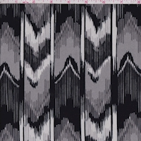 *1 7/8 YD PC--ITY Grey/Black/White Ikat Stripe Jersey Knit