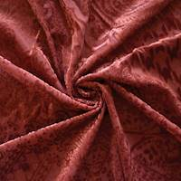 *3 YD PC--Dusty Red Paisley Bandana Burnout Velvet Knit