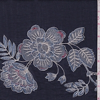 *2 YD PC--Vintage Navy Embroidered Floral Linen Look