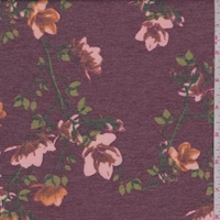 *4 1/2 YD PC--Heather Burgundy Floral Sprig Double Brushed French Terry Knit