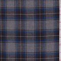 *3 3/4 YD PC--Grey/Royal/Walnut Brown Plaid Flannel