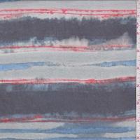 Mist Green/Navy Seismic Stripe Silk Chiffon