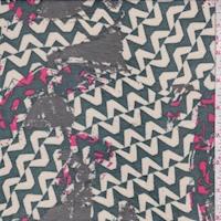 Hunter/Stone Deco Zig Zag Silk Chiffon