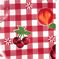 Red Floral Check Oilcloth Roll