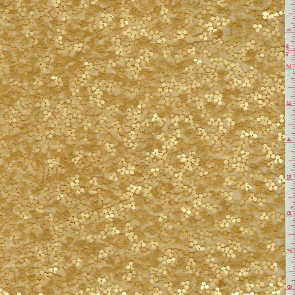 Dark Gold Beaded Silk Chiffon 23046 Discount Fabrics