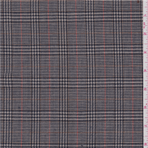Tan Navy Glen Plaid Wool Suiting 24338 Discount Fabrics