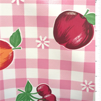 *1 YD PC--Pink Check Oilcloth