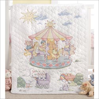 Little Carousel Crib Cover Stamped Cross Stitch Kit-34X43