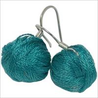 Yarn Ball Earrings 2/Pkg-Teal