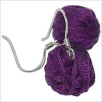 Yarn Ball Earrings 2/Pkg-Purple