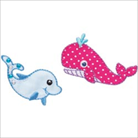 Whale & Dolphin Iron On Applique-2X1-1/4 2/Pkg