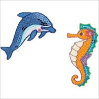 Dolphin & Seahorse Iron On Applique-2.37X1.12 2/Pkg