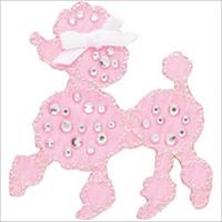 Jeweled Pink Poodle W/ Rhinestones Iron On Applique-2X2-1/4 1/Pkg