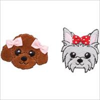 Puppies W/Bows Iron On Applique-1-1/2X2 2/Pkg