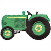 Green Tractor Iron On Applique-3X1-3/4 1/Pkg