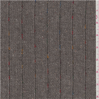 *4 5/8 YD PC--Brown Herringbone Wool Suiting