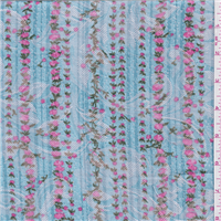 *1 1/2 YD PC--Blue Floral Jacquard Suiting