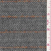 *1 7/8 YD PC--Black/Ivory Stripe Wool Coating