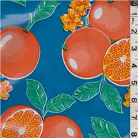 *5/8 YD PC--Aqua Blue Fruit Oilcloth