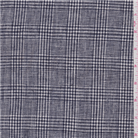 *4 1/8 YD PC--Dark Navy Blue Plaid Linen