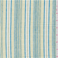 *1 5/8 YD PC--Lime Green/Blue Stripe Linen