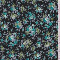 *1 YD PC--Black/Turquoise Floral Challis