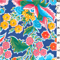 *1 YD PC--Royal Blue Floral Oilcloth