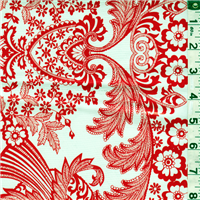 *3/4 YD PC--Red Floral Oilcloth