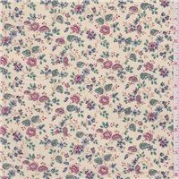 *3 1/4 YD PC--Cream Floral Cotton