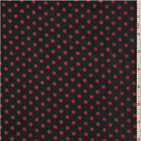 *2 1/2 YD PC--Black/Red Dot Charmeuse
