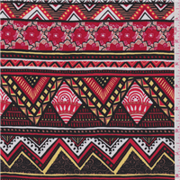 *4 3/8 YD PC--Red Multi Aztec Stripe Challis