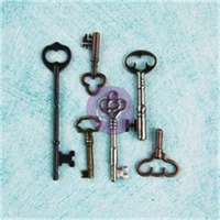 Junkyard Findings Metal Embellishments-Vintage Keys 6 Pieces