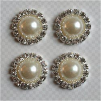 Vintage Findings .7 4/Pkg-Round Pearl Pendant