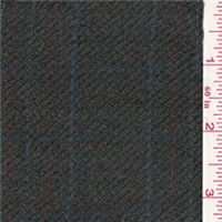 *1 YD PC--Grey/Blue Plaid Wool Coating