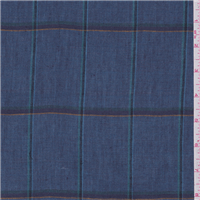 *6 YD PC--Medium Blue Check Linen