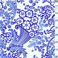 *2 YD PC--Blue Floral Oilcloth
