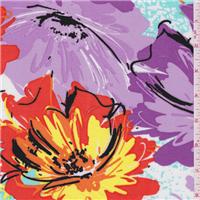 *1 YD PC--Purple Multi Floral Challis